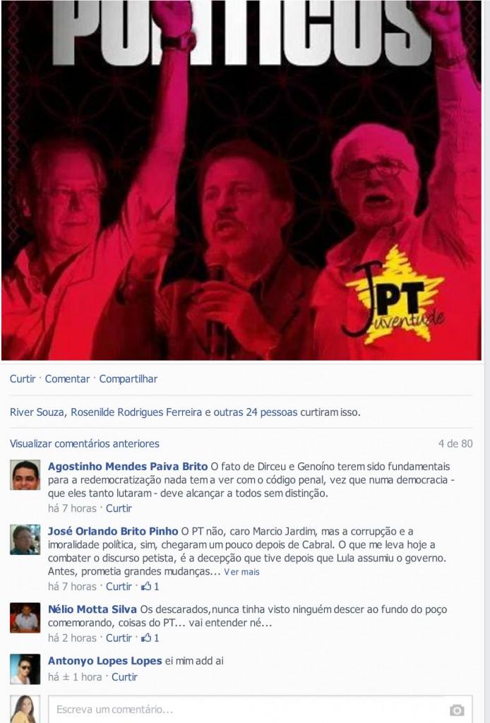 Postagem de Márcio Jardim  em Facebook recebe muitas críticas