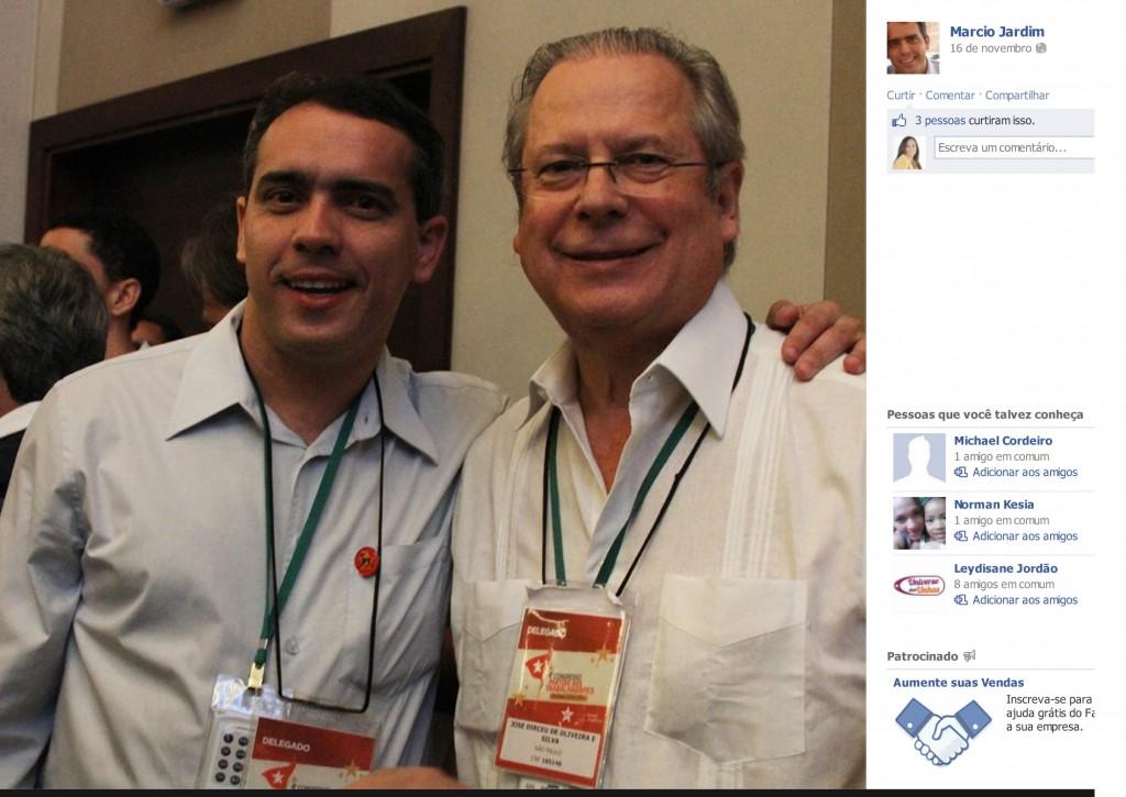 Márcio exibe, com orgulho, fotos com o mensaleiro José Dirceu