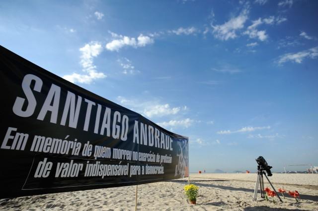 Jornalistas fizeram ato em memória de Santiago Andrade, da Band