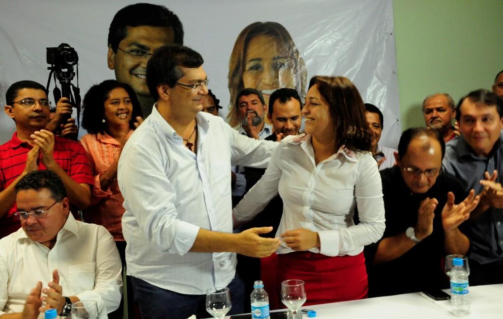Deputada oficializou aliança com Flávio Dino em coletiva de imprensa
