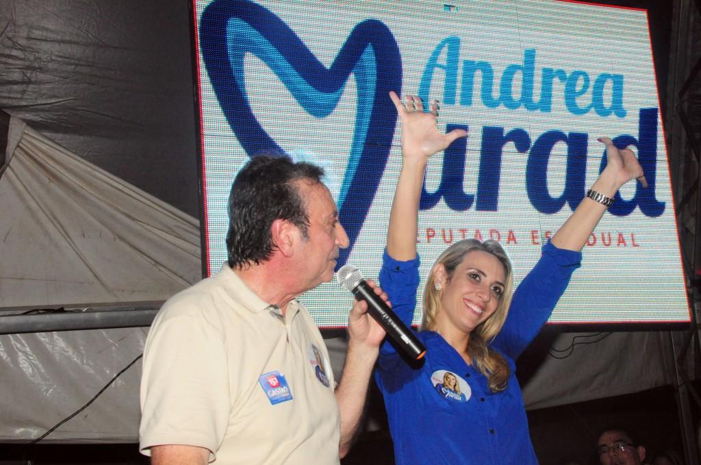Ricardo Murad, secretário de Saúde, com a candidata Andrea Murad, na inauguração do comitê