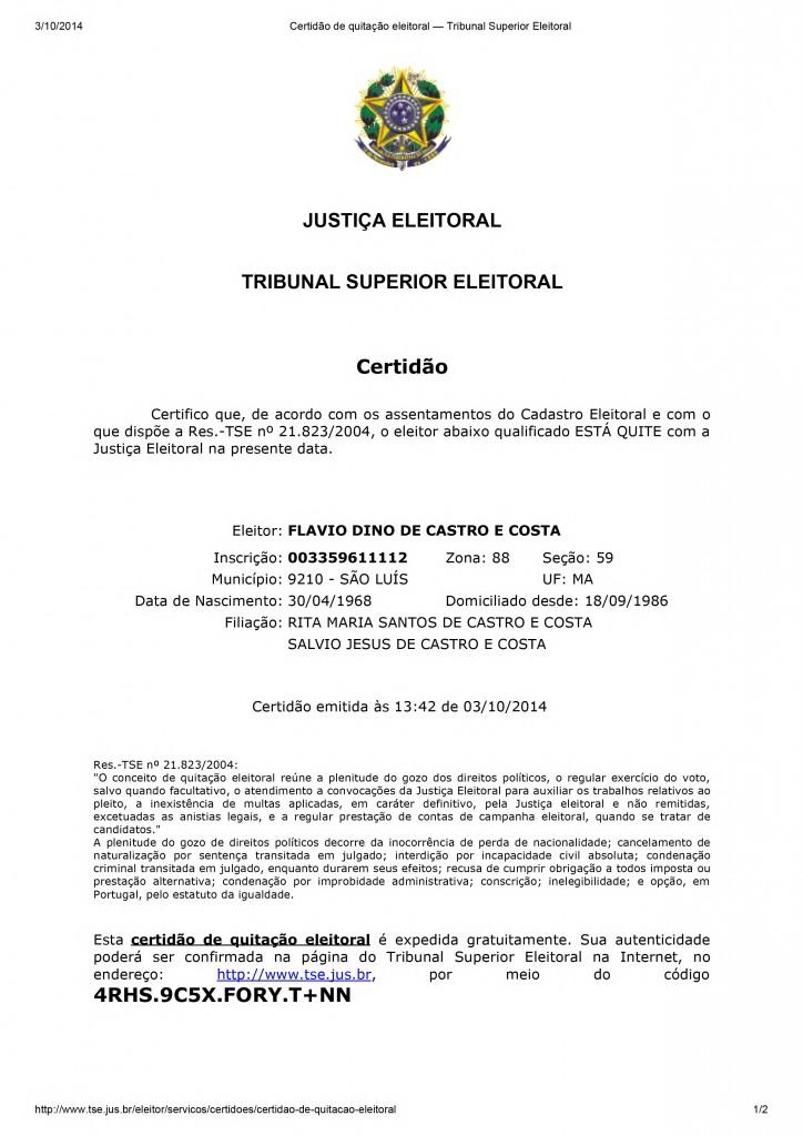 Certidão de quitação eleitoral — Tribunal Superior Eleitoral - Flávio-1