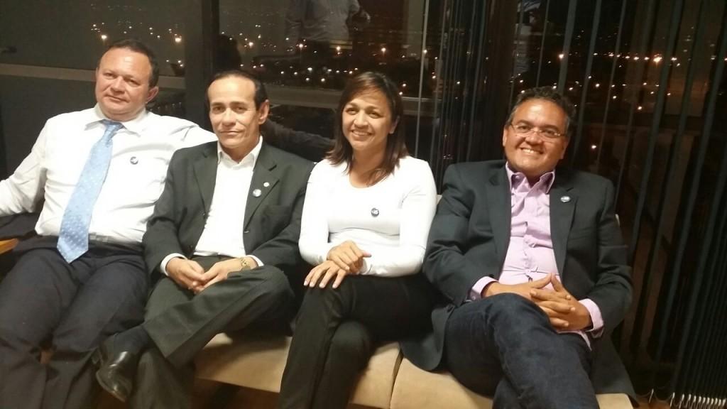 Pinto Itamaraty, Eliziane Gama, Roberto Rocha e Carlos Brandão, durante reunião, em Brasília, que discutiu o apoio a Aécio Neves no Maranhão