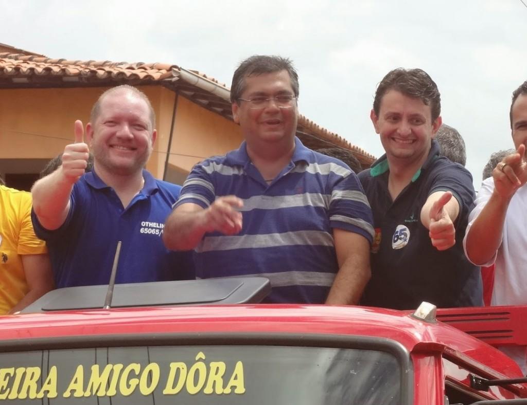 Othelino, Flávio Dino e Leonardo Sá juntos em campanha passada