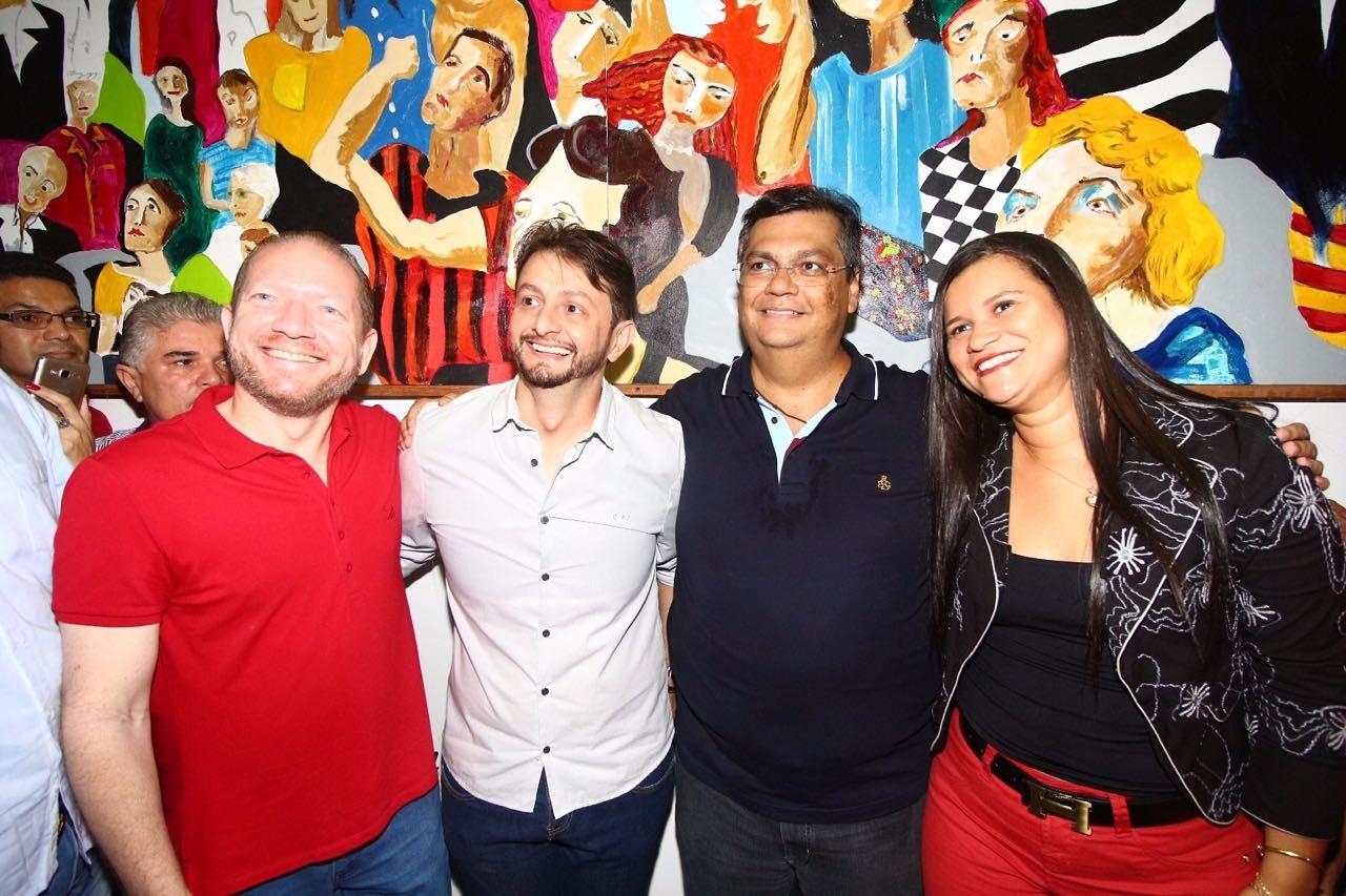 Othelino Neto e o governador Flávio Dino com pré-candidatos do PCdoB
