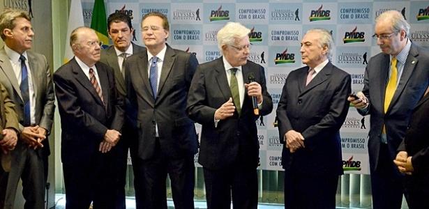 Alta cúpula do PMDB: Jucá, Sarney, Renan, Moreira Franco, Temer e Cunha, em foto de julho