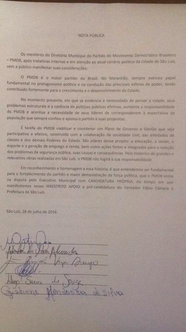 Documento autoriza a candidatura de Câmara em São Luís